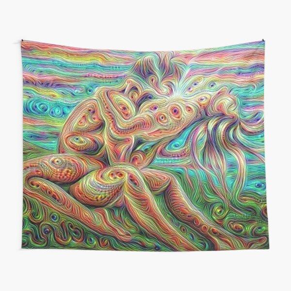 Rainbow Tapestry Psychedelic Art Trippy Geometric Moon Mountain Bedspread