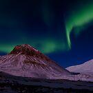 Aurora Borealis over Sarkofagen and Longyear Glacier by Algot Kristoffer Peterson