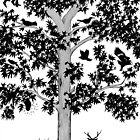tree with birds and deer by Loui  Jover