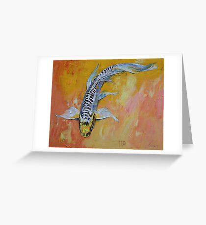 Yellow Dragon Koi Greeting Card