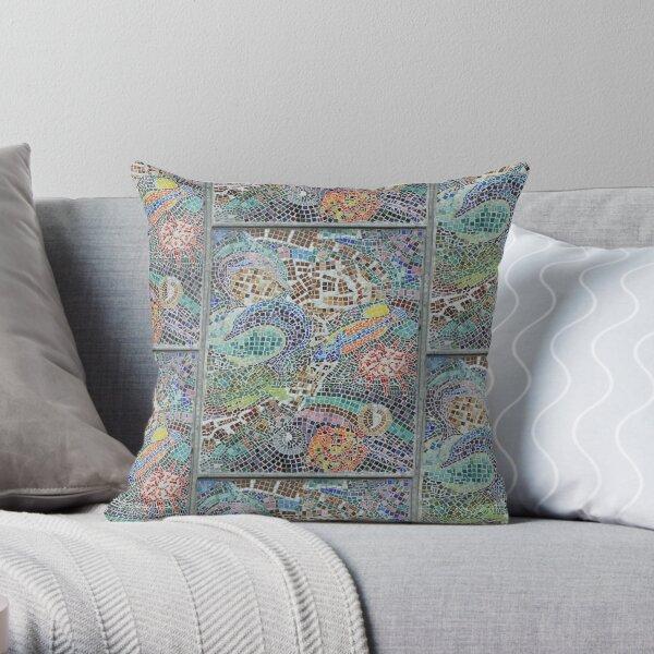 Seaside, underwater themed mosaic 3 Throw Pillow