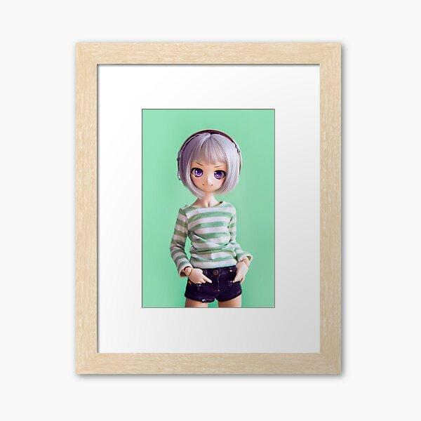 Glitch in green Framed Art Print