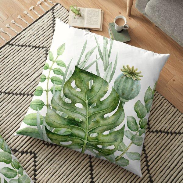 Green plant leaves Floor Pillow