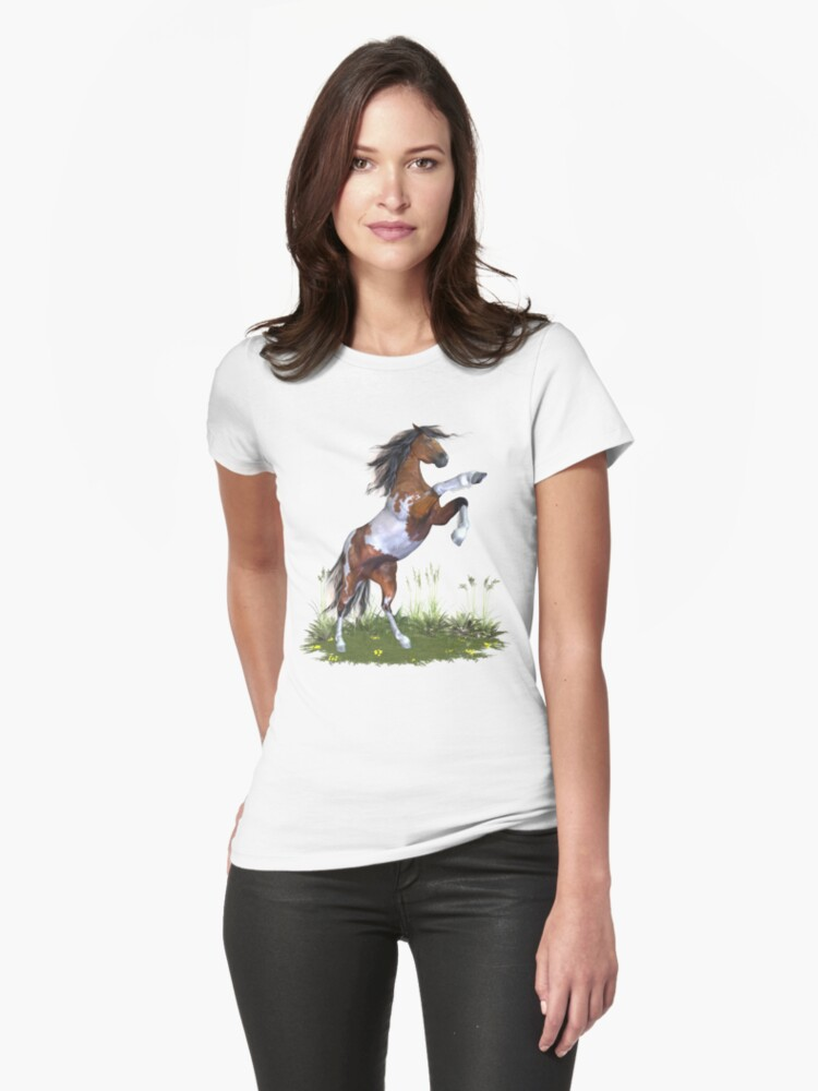 Rearing Paint Stallion .. tee shirt by LoneAngel