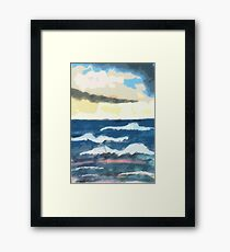 Ocean scene,  in 1/2/  pencil and Watercolor Framed Print