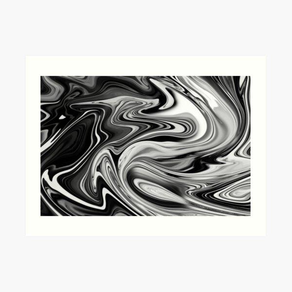 Elegant Marble 7 - Liquid Black and White Art Print