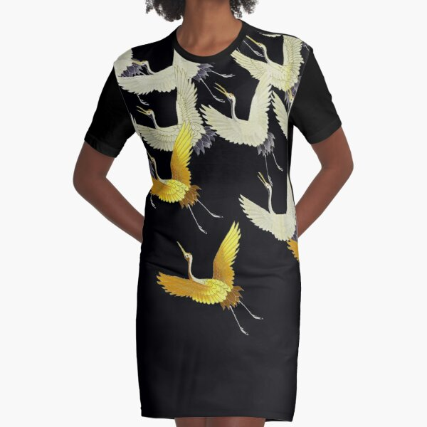 GOLD YELLOW WHITE FLYING CRANES IN BLACK Japanese Pattern Graphic T-Shirt Dress