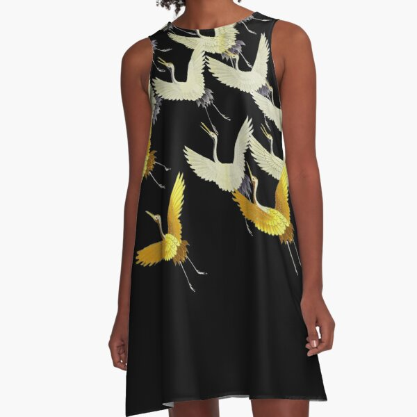 GOLD YELLOW WHITE FLYING CRANES IN BLACK Japanese Pattern A-Line Dress
