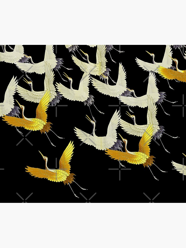GOLD YELLOW WHITE FLYING CRANES IN BLACK Japanese Pattern by BulganLumini