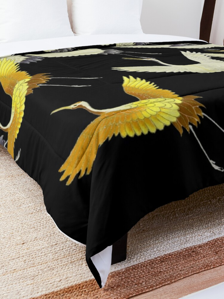 Alternate view of GOLD YELLOW WHITE FLYING CRANES IN BLACK Japanese Pattern Comforter