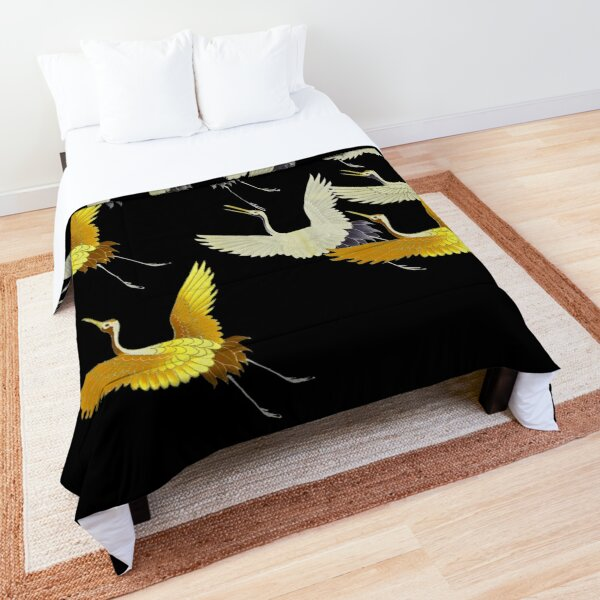 GOLD YELLOW WHITE FLYING CRANES IN BLACK Japanese Pattern Comforter