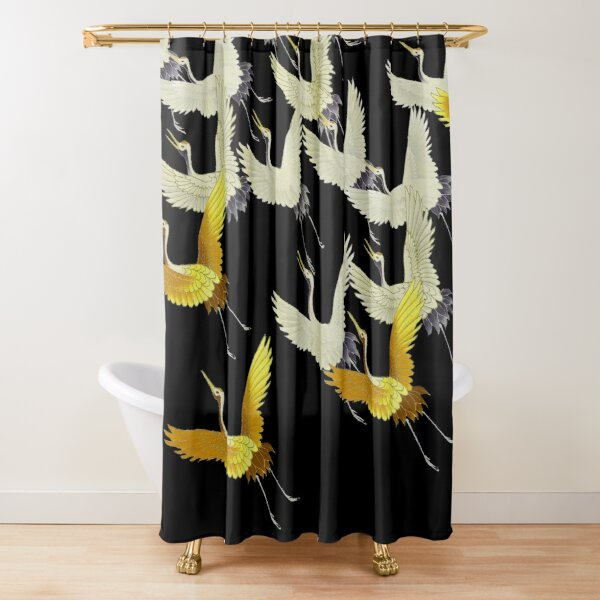 GOLD YELLOW WHITE FLYING CRANES IN BLACK Japanese Pattern Shower Curtain
