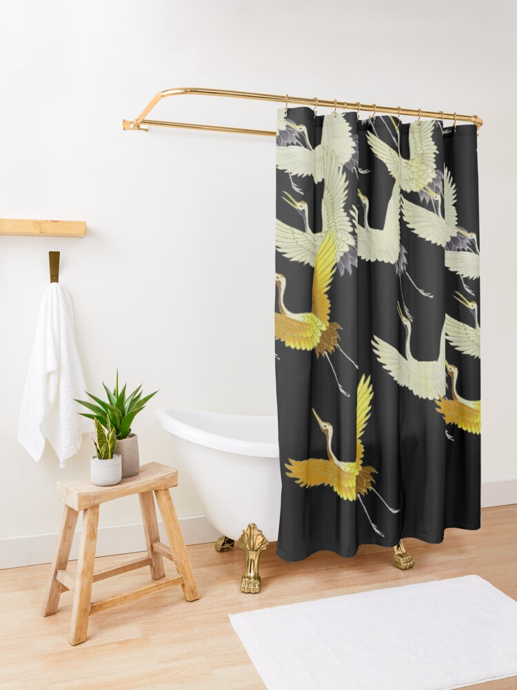 Alternate view of GOLD YELLOW WHITE FLYING CRANES IN BLACK Japanese Pattern Shower Curtain