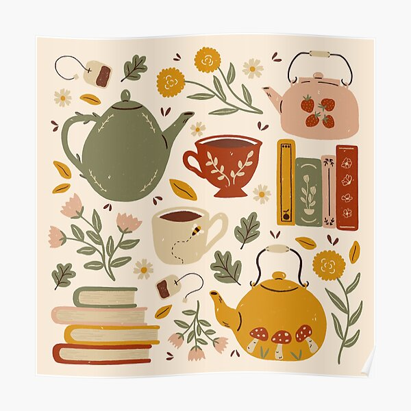 Flowery Books and Tea Poster