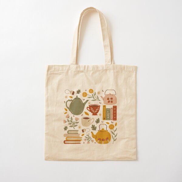 Flowery Books and Tea Cotton Tote Bag