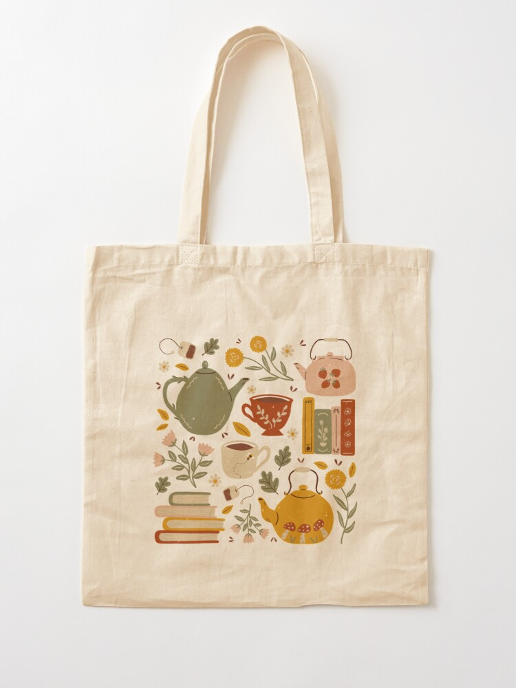Alternate view of Flowery Books and Tea Tote Bag