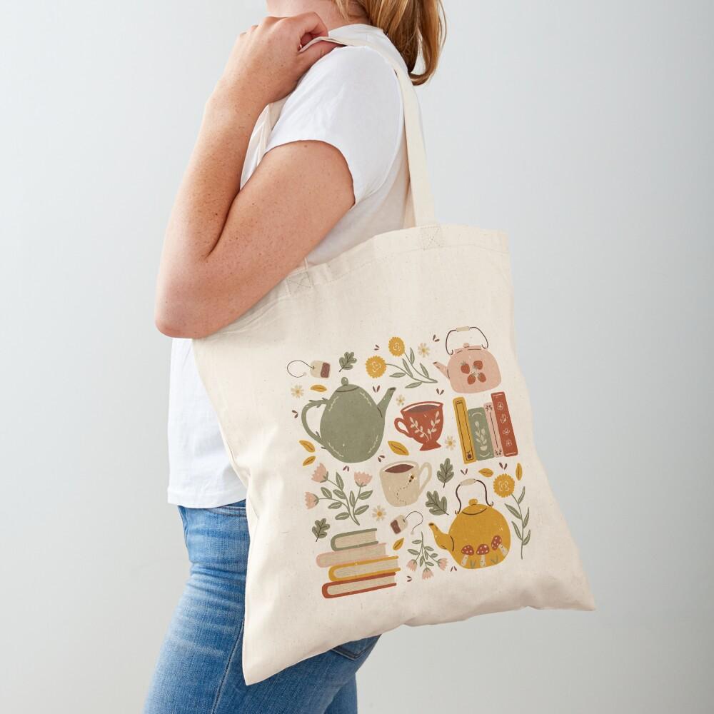 Flowery Books and Tea Tote Bag