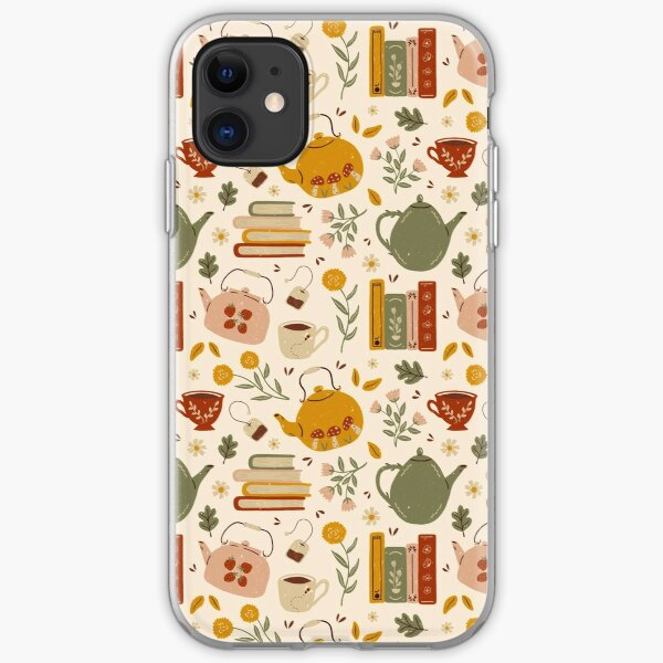 Flowery Books and Tea iPhone Soft Case