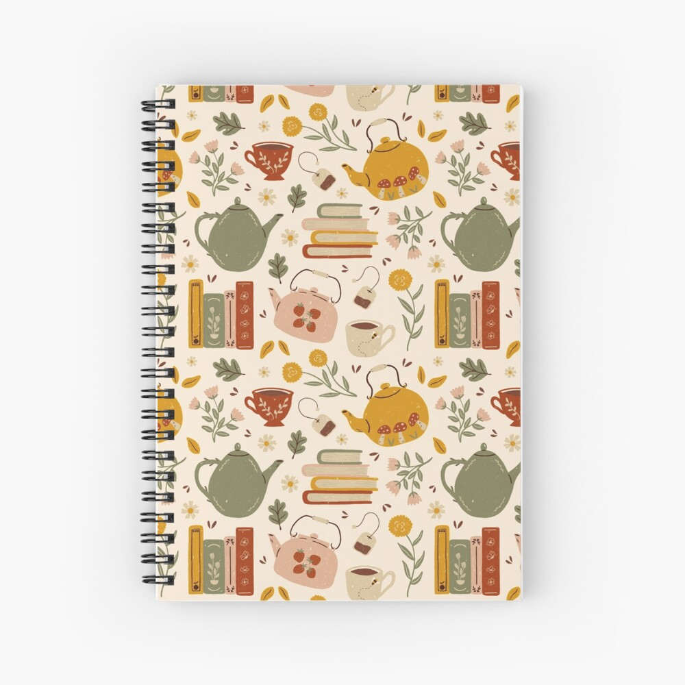 Flowery Books and Tea Spiral Notebook