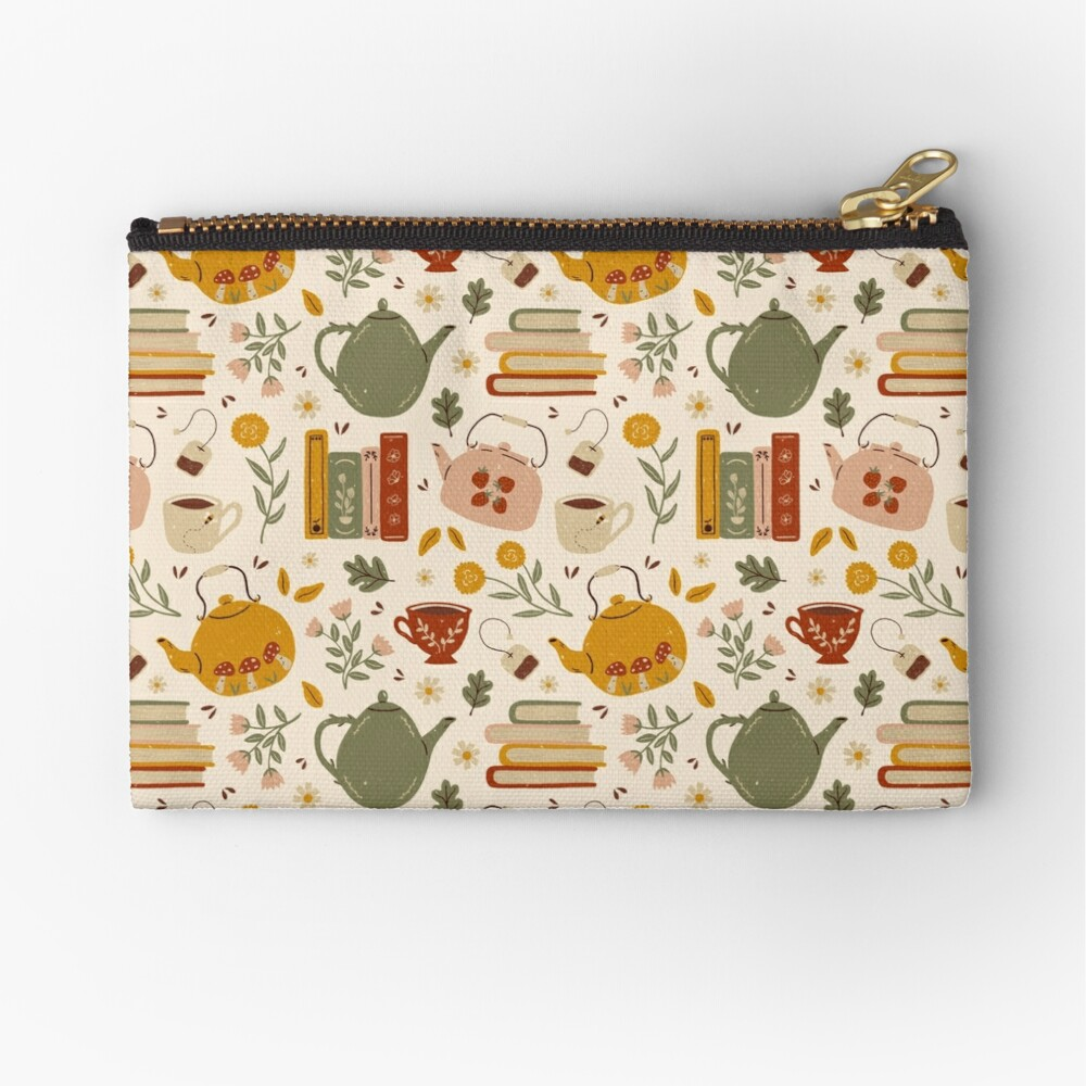 Flowery Books and Tea Zipper Pouch