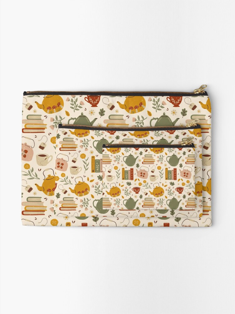 Alternate view of Flowery Books and Tea Zipper Pouch
