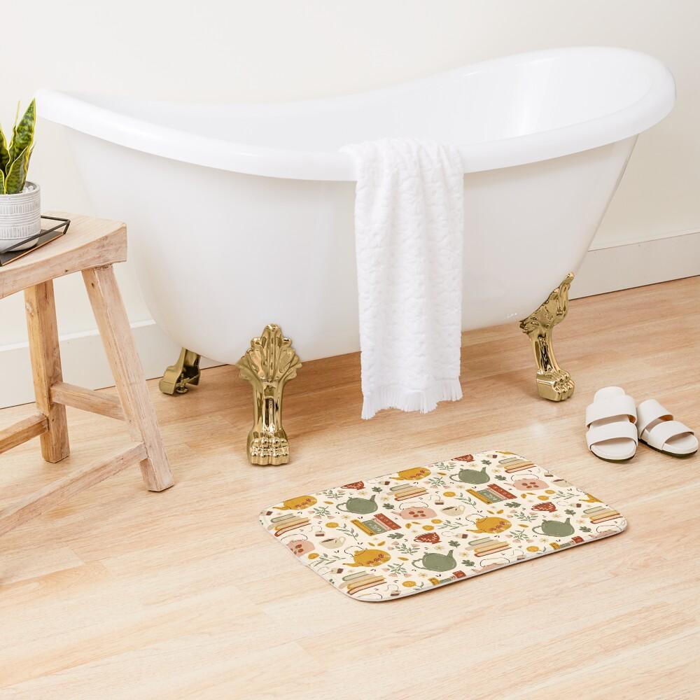 Flowery Books and Tea Bath Mat