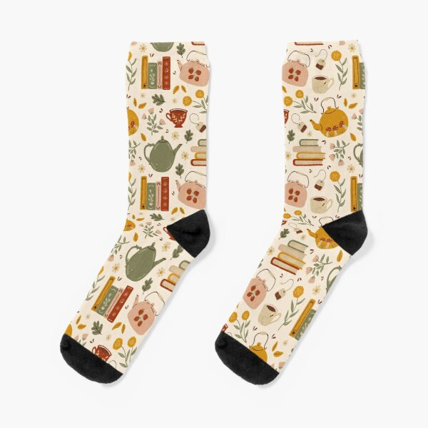 Flowery Books and Tea Socks