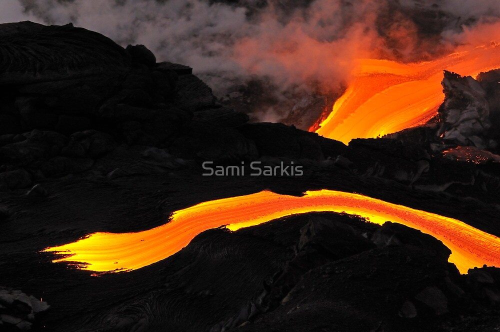 River of molten lava flowing to the sea, Kilauea Volcano, Hawaii Islands, United States by Sami Sarkis