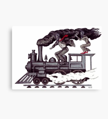 Crazy raise on the vintage steam locomotive surreal black and white drawing Canvas Print