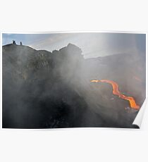 People watching river of molten lava flowing to the sea, Kilauea Volcano, Hawaii Islands, United States Poster