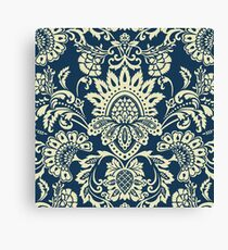 Vintage damask Blue and White Canvas Print