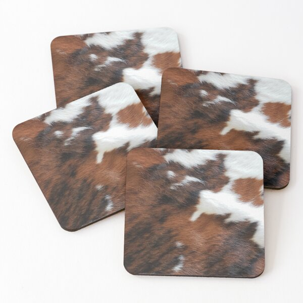 Cowhide Rodeo Western Country Living Coasters (Set of 4)