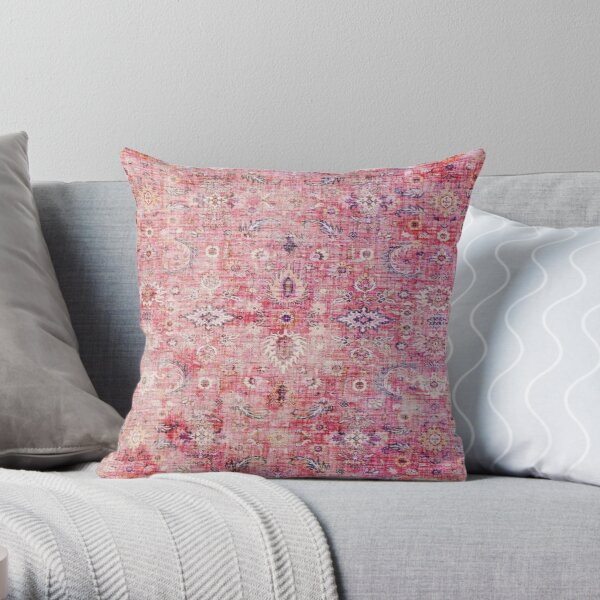 Antique Traditional Pink Oriental Moroccan Style  Throw Pillow