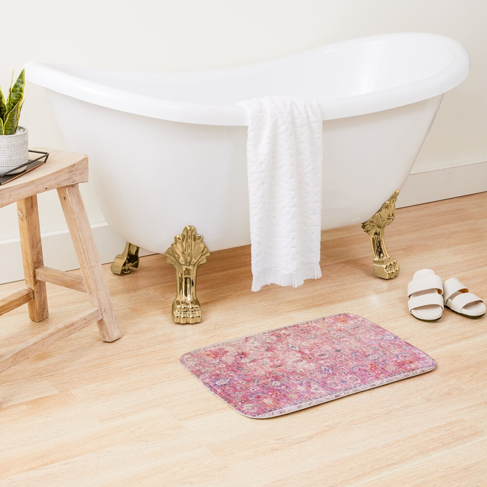 Antique Traditional Pink Oriental Moroccan Style  Bath Mat