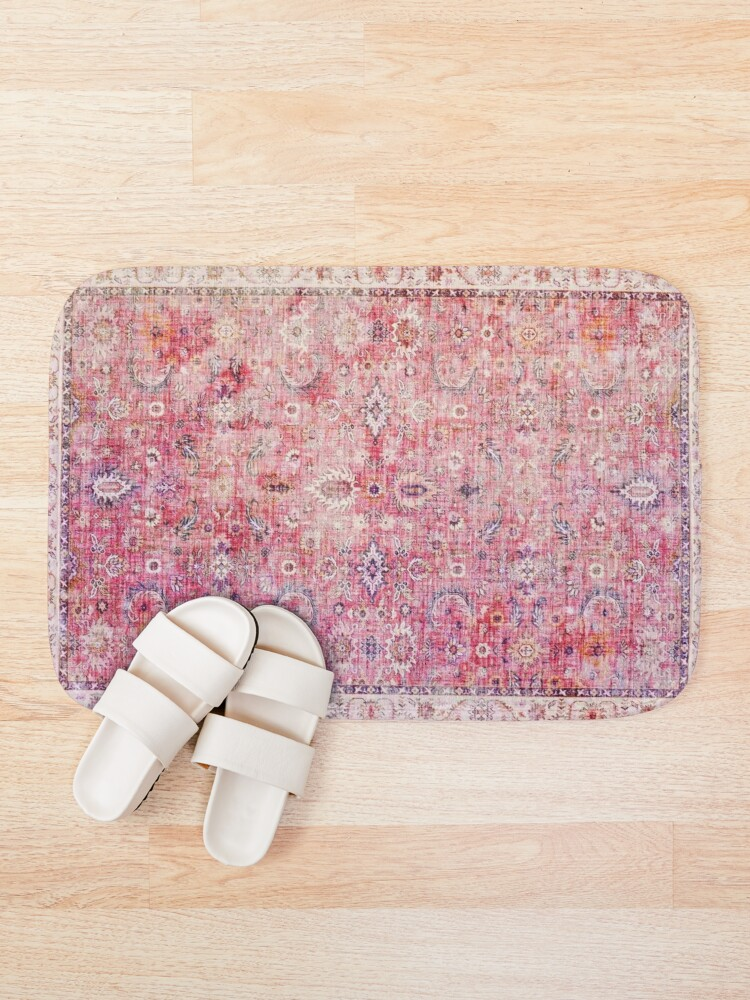Alternate view of Antique Traditional Pink Oriental Moroccan Style  Bath Mat