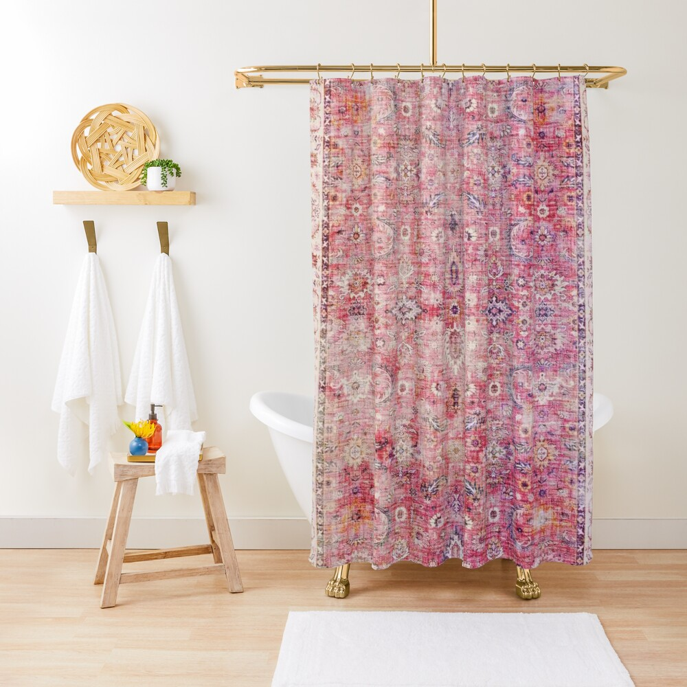 Antique Traditional Pink Oriental Moroccan Style  Shower Curtain