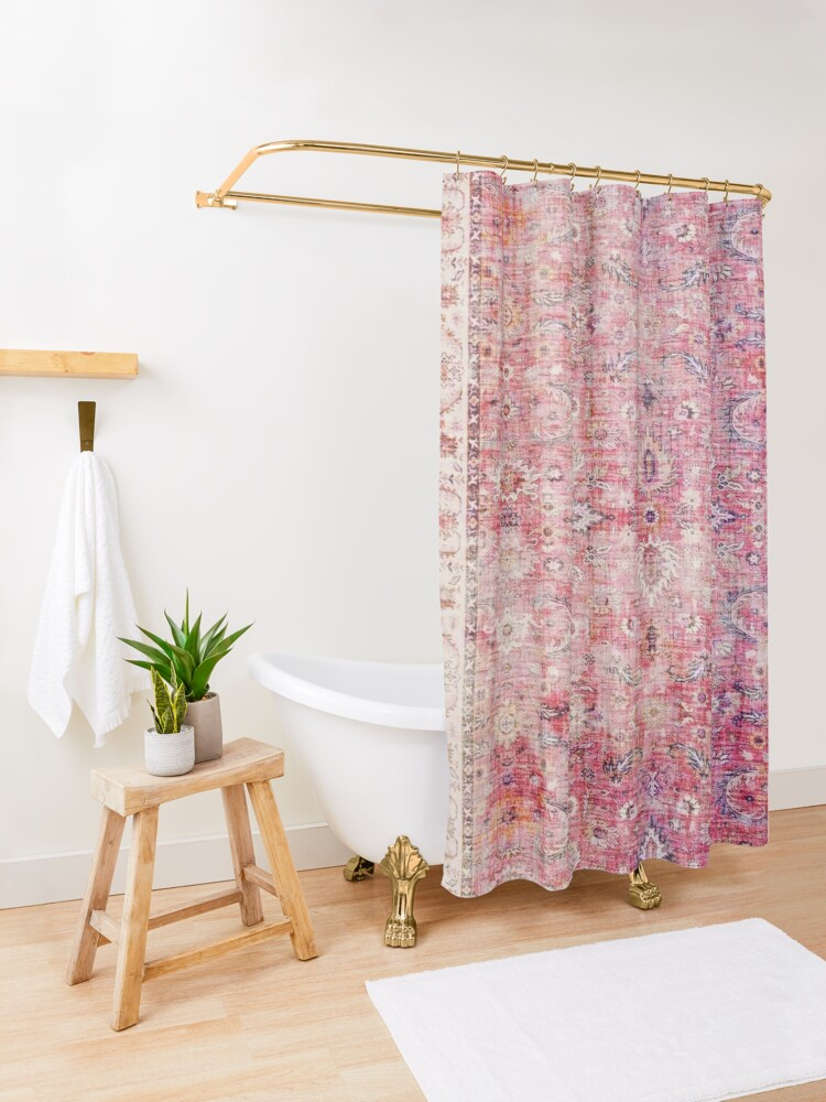 Alternate view of Antique Traditional Pink Oriental Moroccan Style  Shower Curtain