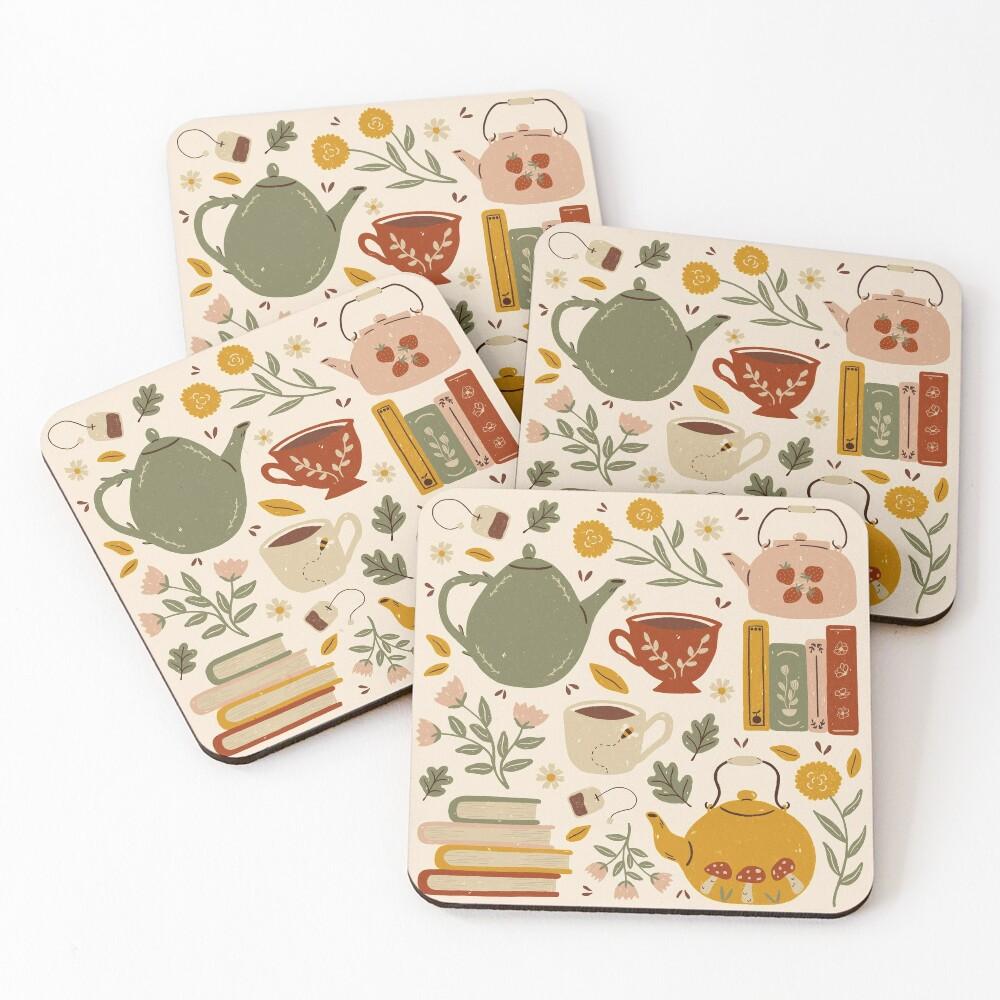 Flowery Books and Tea Coasters (Set of 4)