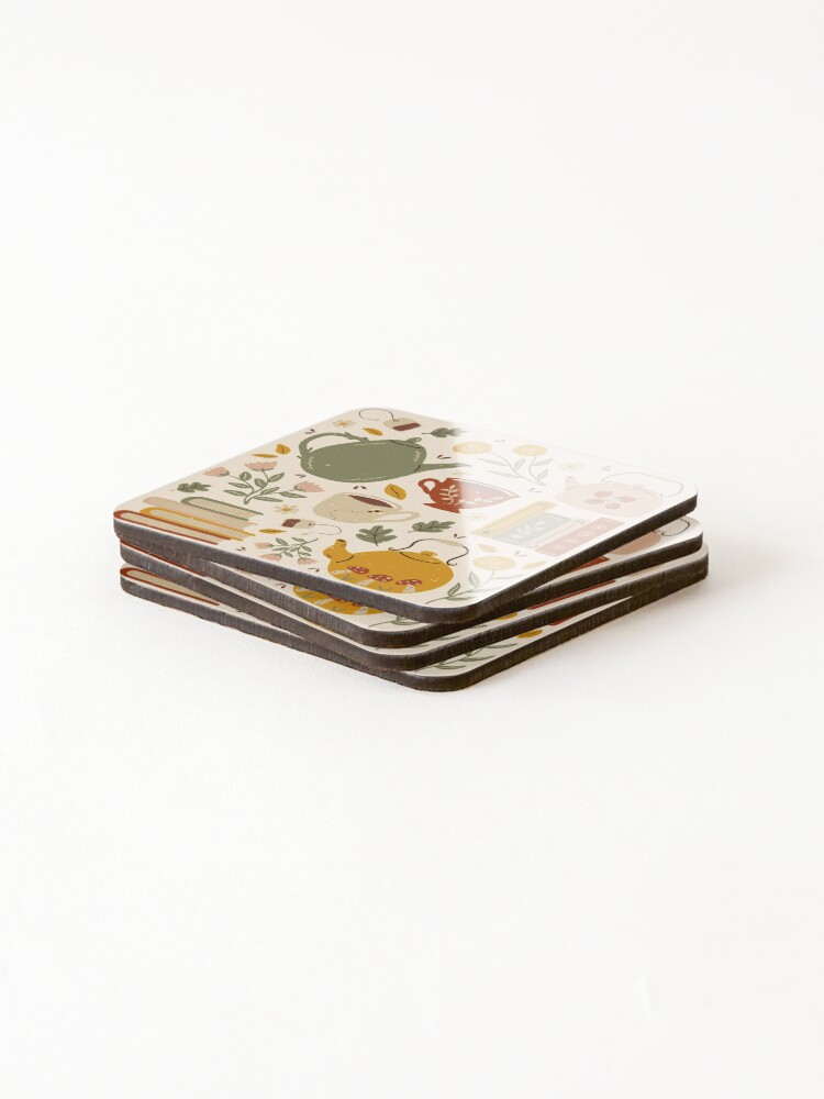 Alternate view of Flowery Books and Tea Coasters (Set of 4)