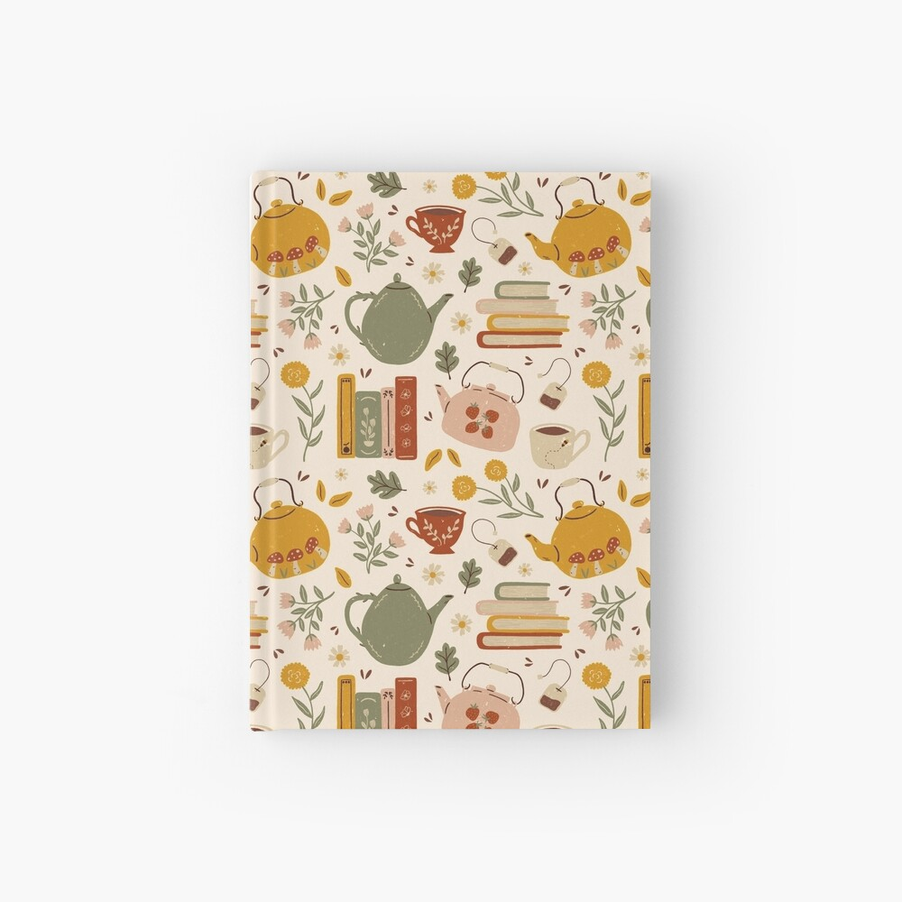 Flowery Books and Tea Hardcover Journal