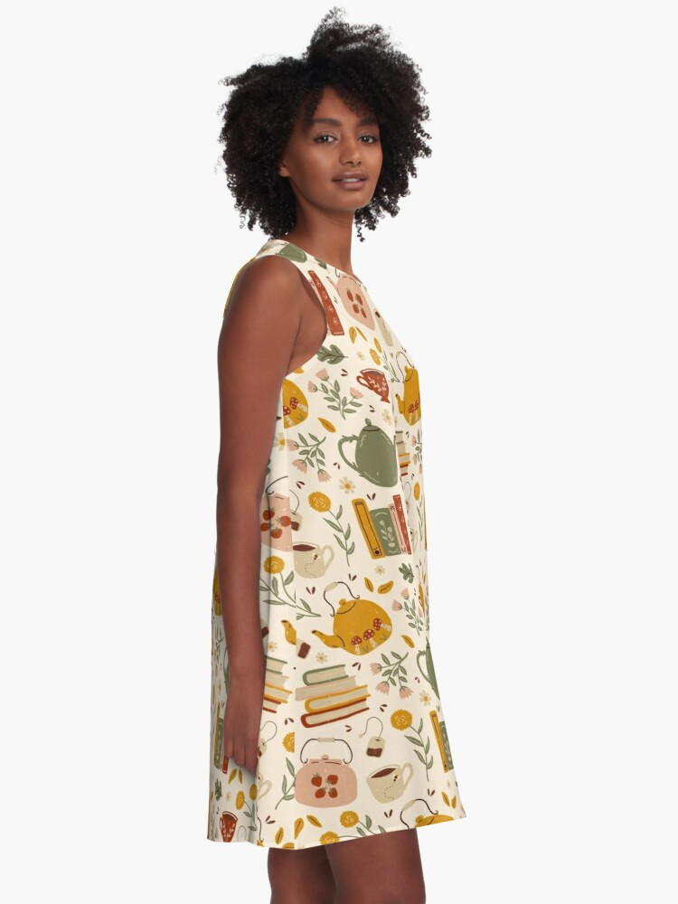 Alternate view of Flowery Books and Tea A-Line Dress