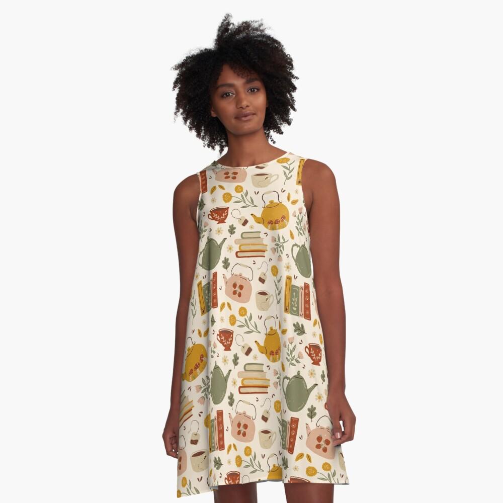 Flowery Books and Tea A-Line Dress