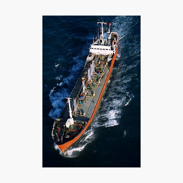 Oil tanker at sea, aerial view, Fos sur Mer, France. Photographic Print