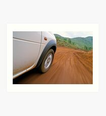 New Caledonia, Grand Terre Island, car on road (blurred motion) Art Print