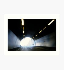 Traffic in road tunnel (blurred motion) Art Print
