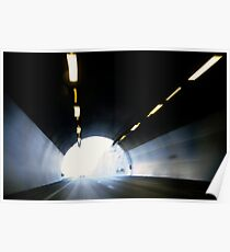 Traffic in road tunnel (blurred motion) Poster