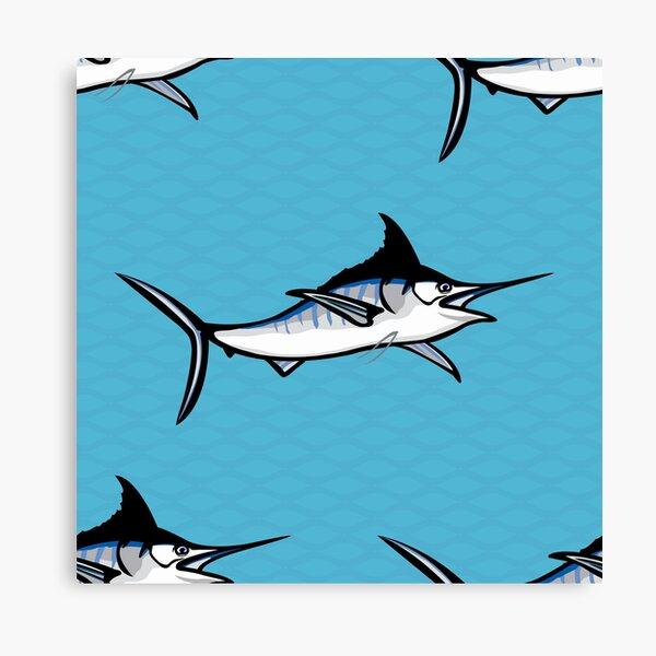 Blue marlin repeat Canvas Print