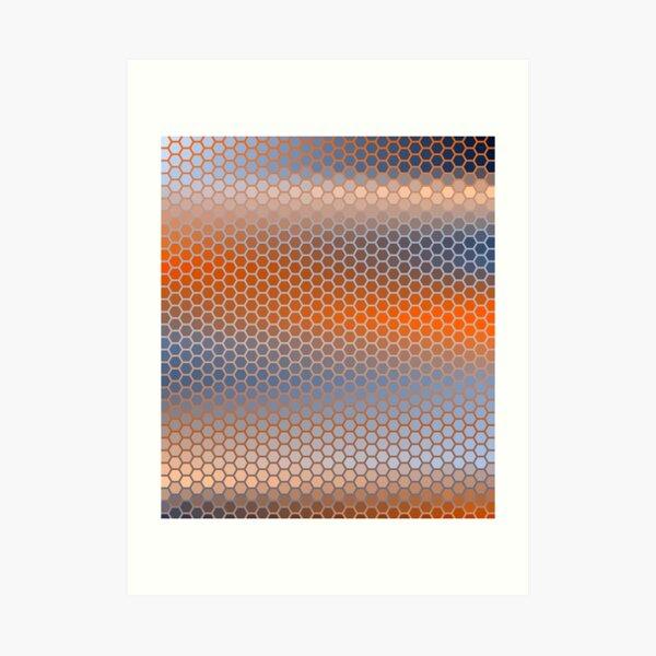 Blue Orange Brown Hexagon Pattern Art Print