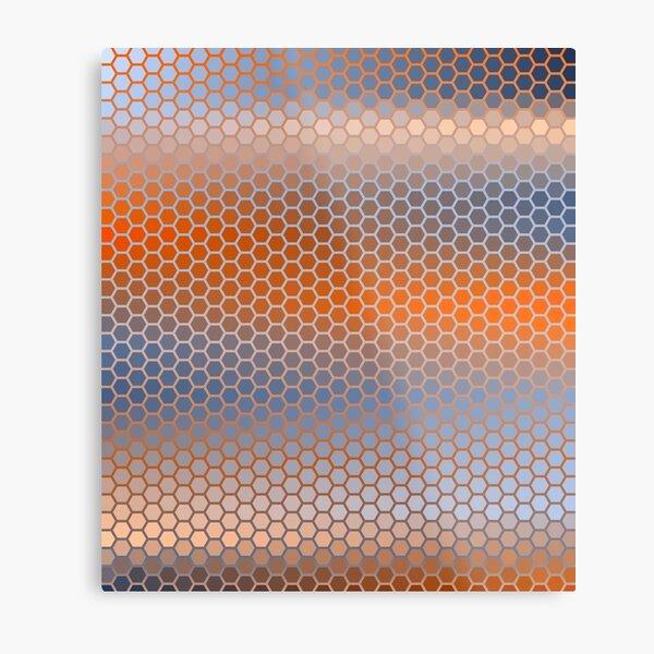 Blue Orange Brown Hexagon Pattern Metal Print