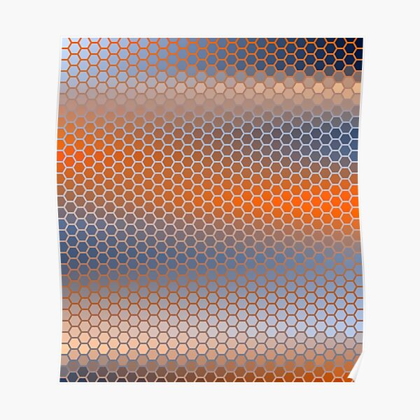 Blue Orange Brown Hexagon Pattern Poster